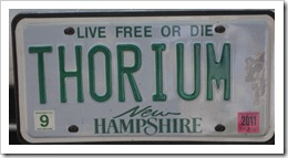Thorium license plate