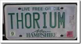 Thorium license plate