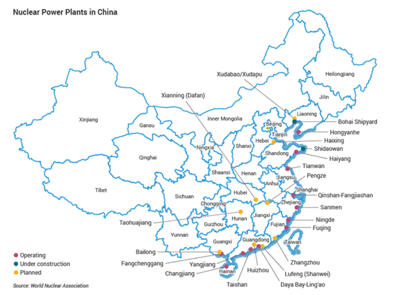 china nuclear plants map WNN