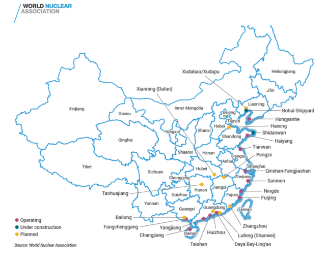 China Nucler Power Map - WNA