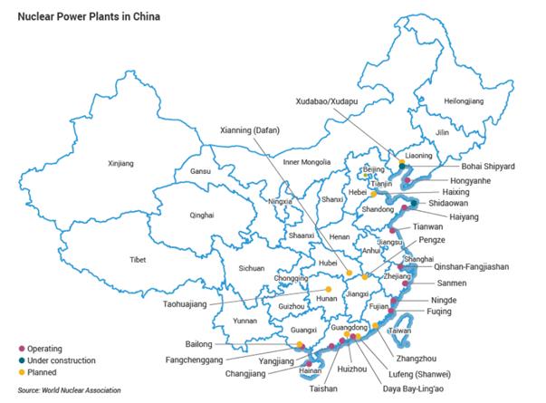 china nuclear plants map WNN