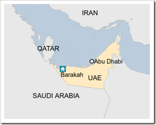Map of UAE Nuclear Plant Location